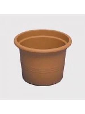 Vaso tondo da 20 cm in plastica colore cotto