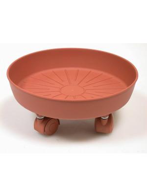Sottovaso con ruote in plastica colore terracotta D56xh13.1 cm