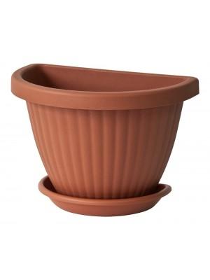 Euro 3 plast Vaso in plastica a semicerchio da Parete Domus C 25/E.24 con Piattino
