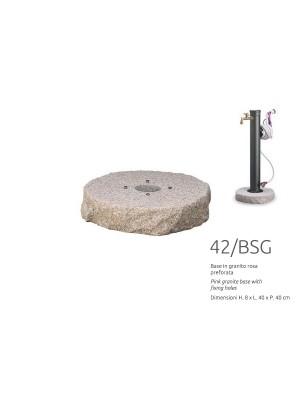 Base in granito rosa preforata diam. 40 cm
