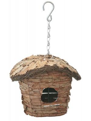 Casetta Uccellini a Capanna Ovale con Tetto Ricoperto di Foglie Verdemax