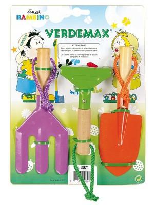 Set Completo Verdemax 3 Attrezzi a Manico Corto da Giardinaggio per Bambini