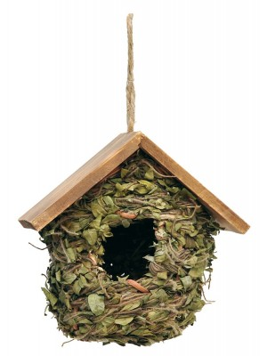 Casetta per Uccellini con Foglie e Tetto in Legno Verdemax Ø18 x H 17cm