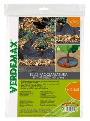 Telo Pacciamatura TNT Nero 0,8x5m Verdemax Copertura Protezione Aiuole 60g/mq