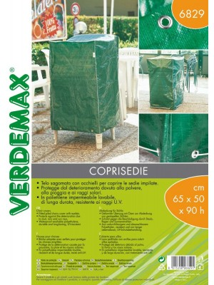 Telo Coprisedie Sagomato con Occhielli Verdemax in PE 65x50xH90cm per Sedie